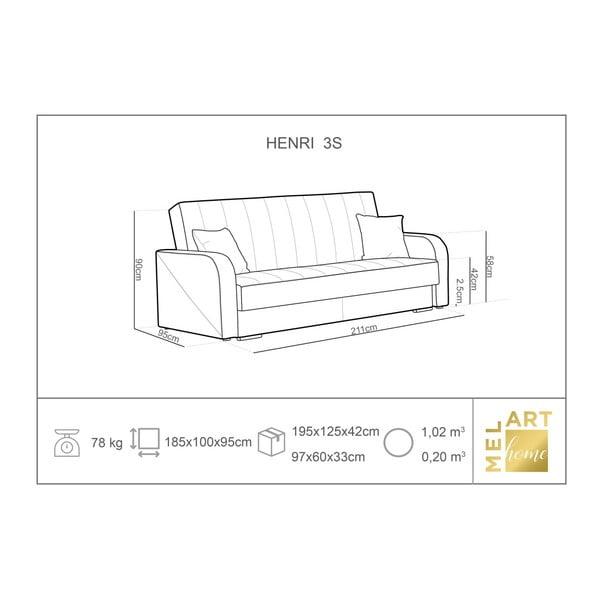 Henri tengerészkék háromszemélyes kanapé ágyneműtartóval - Melart