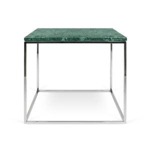 Gleam zöld márvány dohányzóasztal krómozott lábakkal, 50 x 50 cm - TemaHome