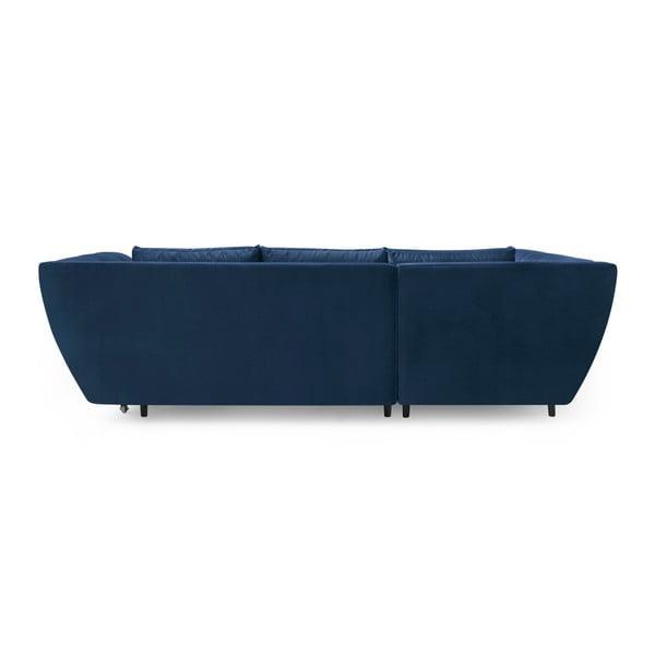 Real tengerészkék négyszemélyes kinyitható kanapé, bal oldali - Bobochic Paris