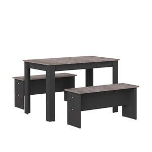 Nice fekete étkezőasztal betonmintás asztallappal és 2 paddal - Symbiosis