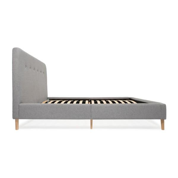 Mae szürke kétszemélyes ágy fa lábakkal, 140 x 200 cm - Vivonita