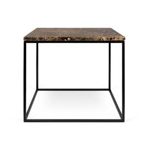 Gleam barna márvány dohányzóasztal fekete lábakkal, 50 x 50 cm - TemaHome