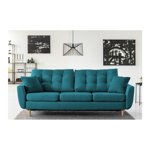 Barcelona türkiz háromszemélyes kinyitható kanapé - Cosmopolitan design