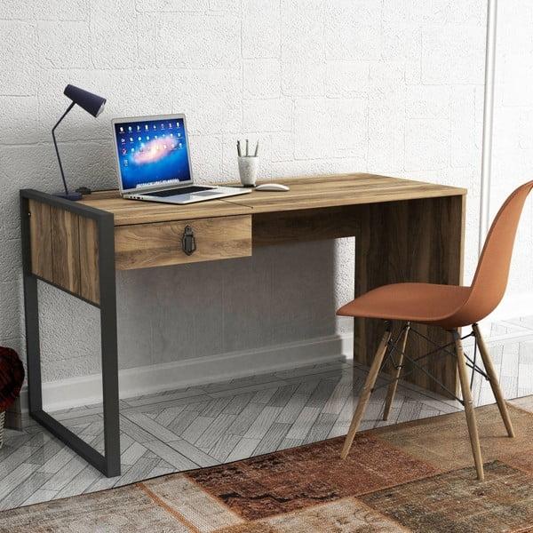 Lost diófa mintás íróasztal fiókkal