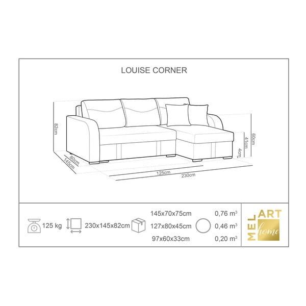 Louise bézs háromszemélyes kinyitható sarokkanapé ágyneműtartóval - Melart