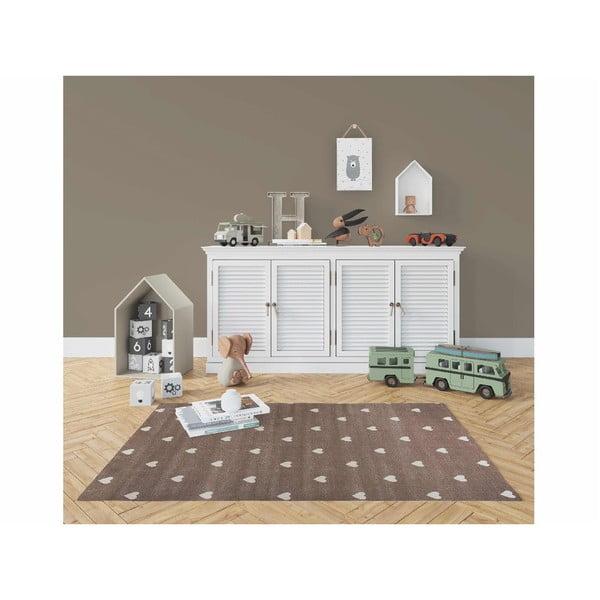 Beige Dots barna, pöttyös szőnyeg, 240 x 330 cm - KICOTI
