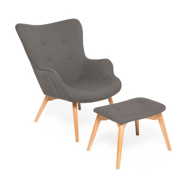 Cora Velver szürke fotel és lábtartó - Vivonita