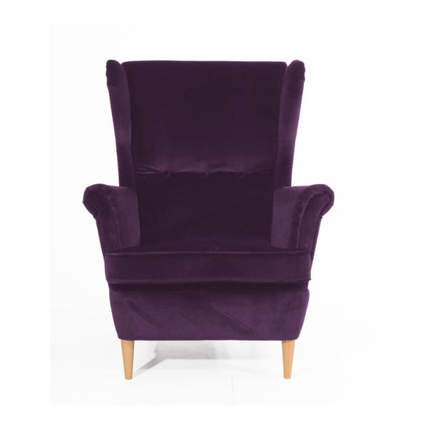 Clint Suede lila fotel világosbarna lábakkal - Max Winzer
