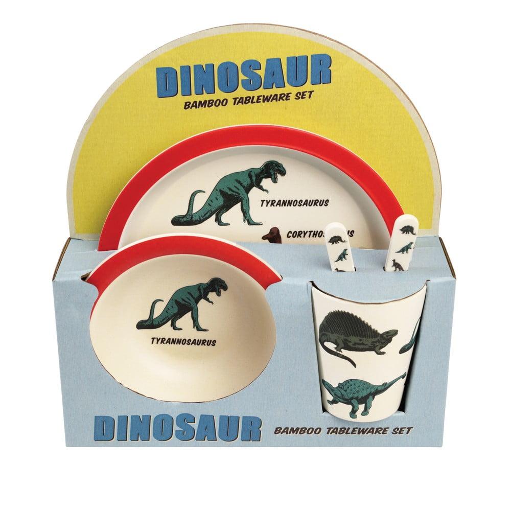 5 db-os dinoszauruszos, gyerek étkészlet bambuszból - Rex London