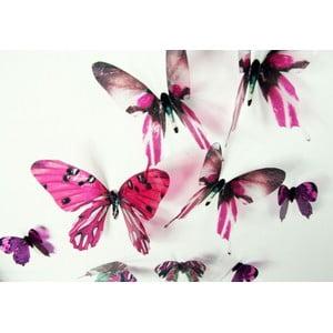 Butterflies rózsaszín 3D hatású 18 darabos falmatrica szett - Ambiance