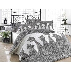 Jazz Black kétszemélyes szürke színű pamut ágyhuzat lepedővel, 200 x 220 cm