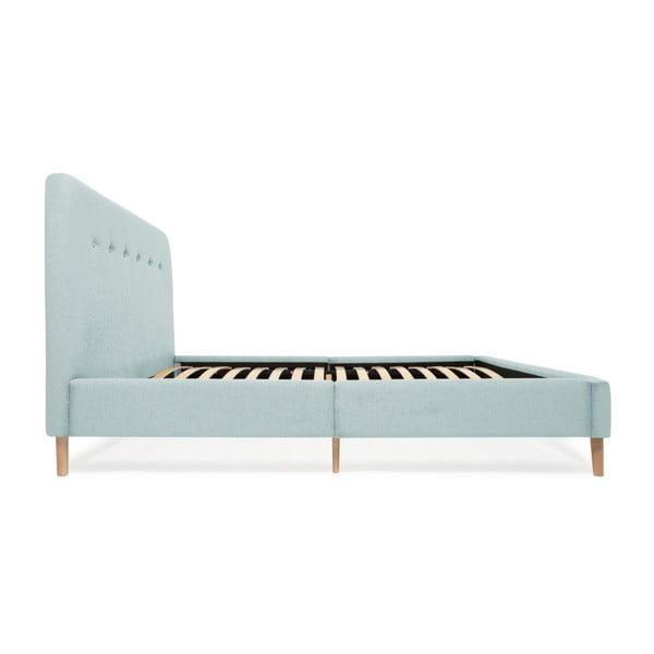 Mae kétszemélyes türkizkék ágy fa lábakkal, 140 x 200 cm - Vivonita