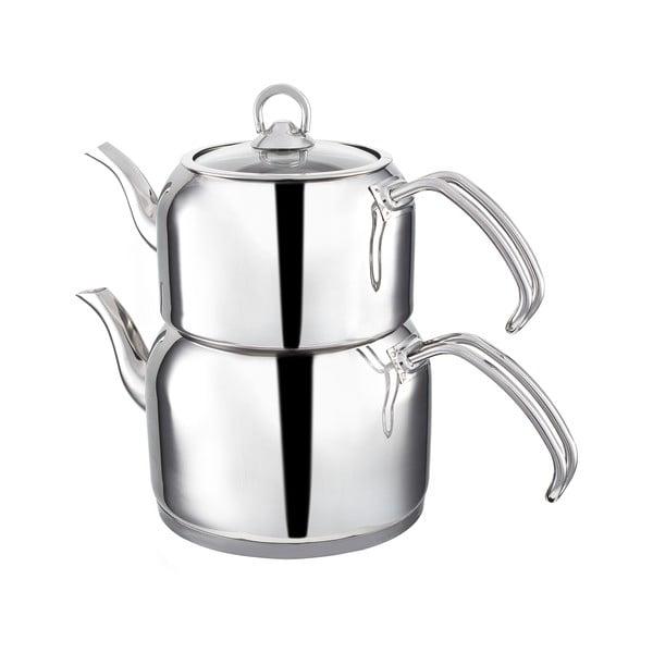 Teafull dupla rozsdamentes acél teáskanna