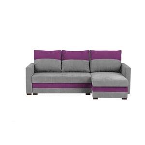 Šedo-fialová třímístná variabilní rohová rozkládací pohovka s úložným prostorem Melart Frida