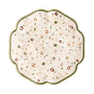 Tempo di Festa fehér kínálótál karácsonyi mintával, ⌀ 31 cm - Brandani