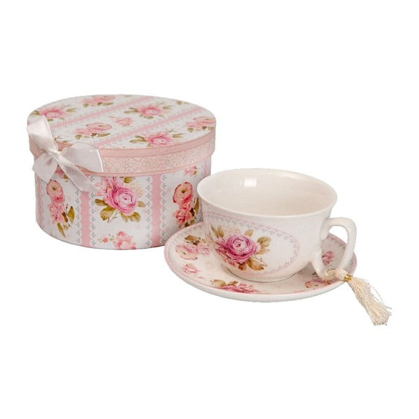 Roses porcelán csésze és csészealj díszdobozban - Antic Line