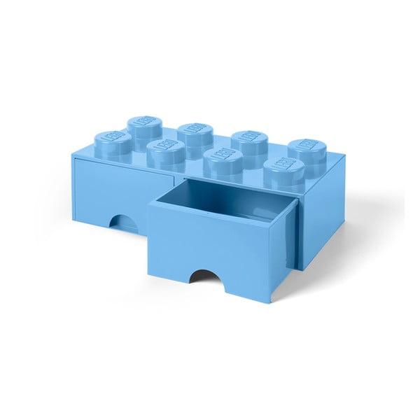 Négyszögeletes világoskék tárolódoboz, 2 fiókkal - LEGO®