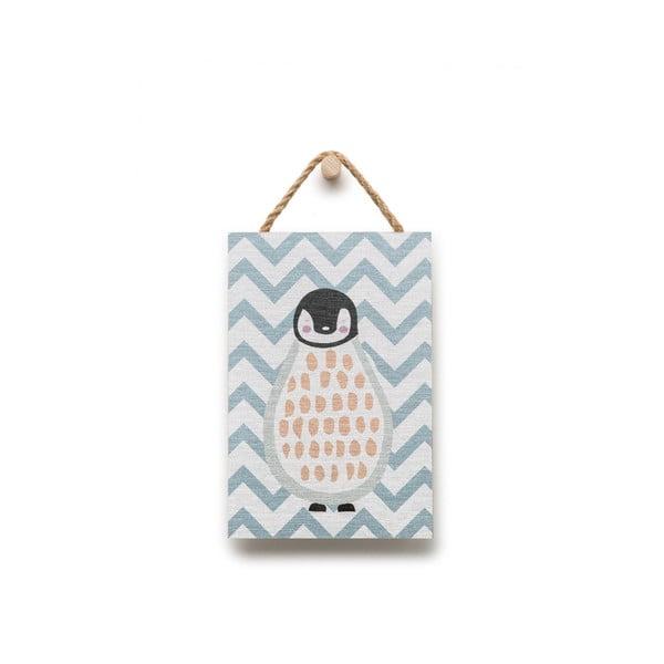 Fali dekoráció pingvin motívummal, 20 x 30 cm - KICOTI