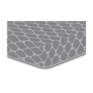 Šedé elastické prostěradlo se vzorem DecoKing Rhombuses, 200x220cm