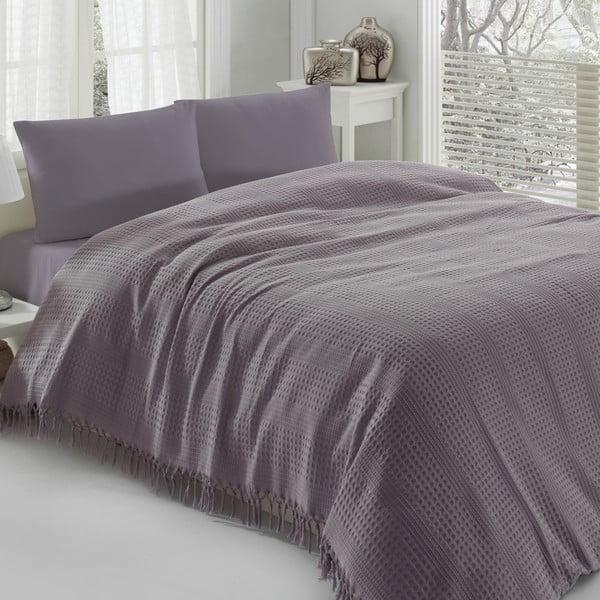 Pique lila könnyű kétszemélyes ágytakaró, 220 x 240 cm