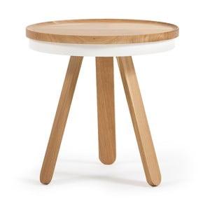 Batea S természetes hatású-fehér tölgyfa dohányzóasztal tálcával - Woodendot