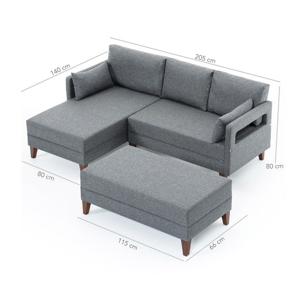 Home Emma szürke kinyitható kanapé, bal oldali - Balcab