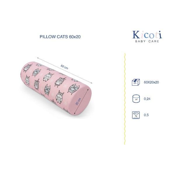 Rózsaszín bagoly mintás díszpárna, 15 x 40 cm - KICOTI