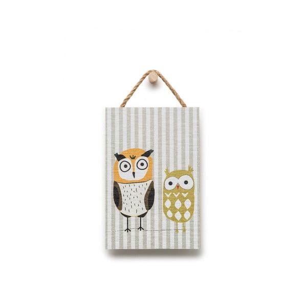 Fali dekoráció kisbagoly motívummal, 20 x 30 cm - KICOTI