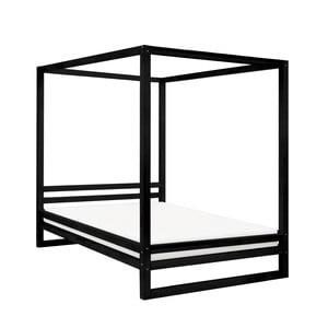 Černá dřevěná dvoulůžková postel Benlemi Baldee, 200x200cm