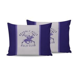Sada 2 bavlněných povlaků na polštářky Polo Club Purple,50x70cm
