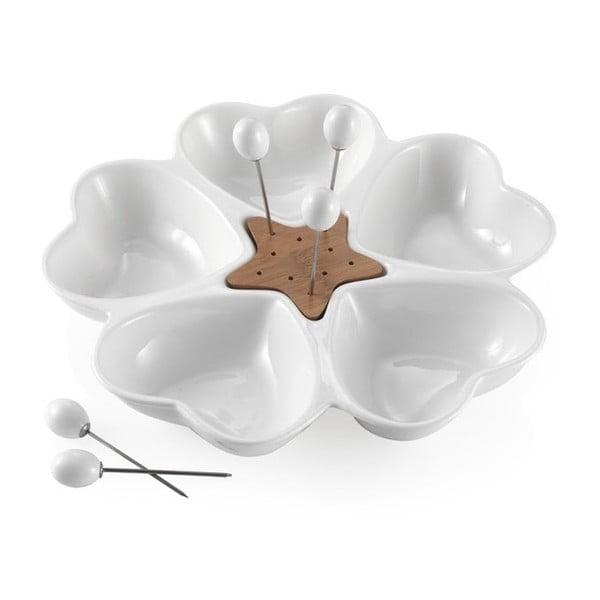 Cuori tálaló edény 5 előételes pálcikával - Brandani