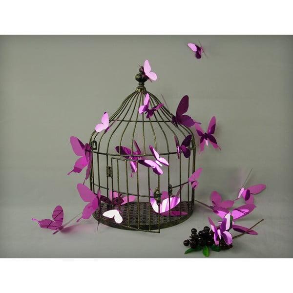 Butterflies lila 3D hatású 12 db-os falmatrica szett - Ambiance