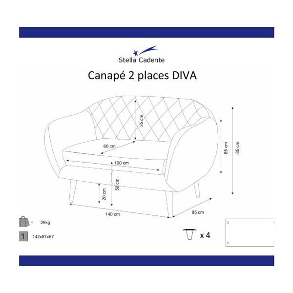 Diva tengerészkék kétszemélyes kanapé - Scandi by Stella Cadente Maison