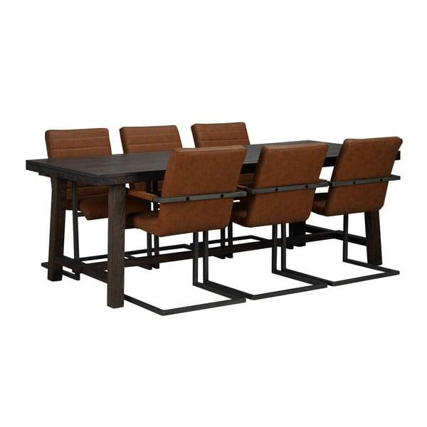 Brooklyn sötétbarna tölgyfa étkezőasztal, hosszúság 220 cm - Folke