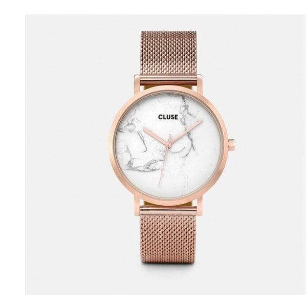 La Roche Mesh női rozéaranyszínű rozsdamentes acél karóra, márvány mintás számlappal- Cluse