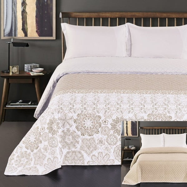 Malaga bézs kétoldalas mikroszálas ágytakaró, 280 x 260 cm - DecoKing