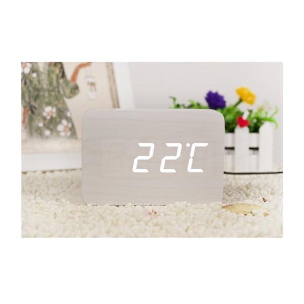 Brick Click Clock fehér ébresztőóra fehér LED kijelzővel - Gingko
