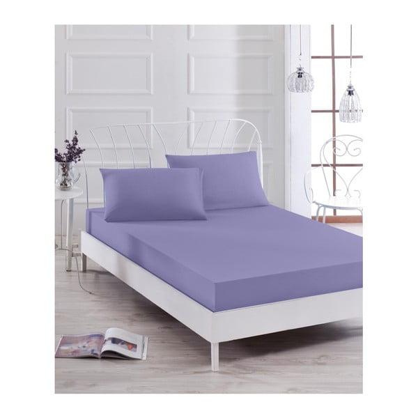 Basso Purple lila lepedő és 2 párnahuzat szett egyszemélyes ágyhoz, 160 x 200 cm