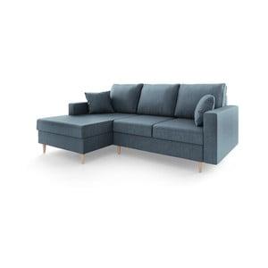 Aubrieta kék négyszemélyes kinyitható kanapé tárolóhellyel, bal oldali kivitel - Mazzini Sofas