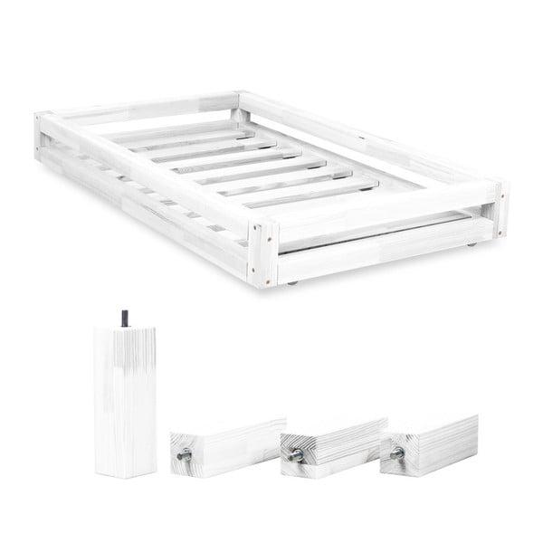 Fehér ágy alatti fiók és 4 db-os ágymagasító láb szett, 120 x 200 cm-es ágyhoz - Benlemi