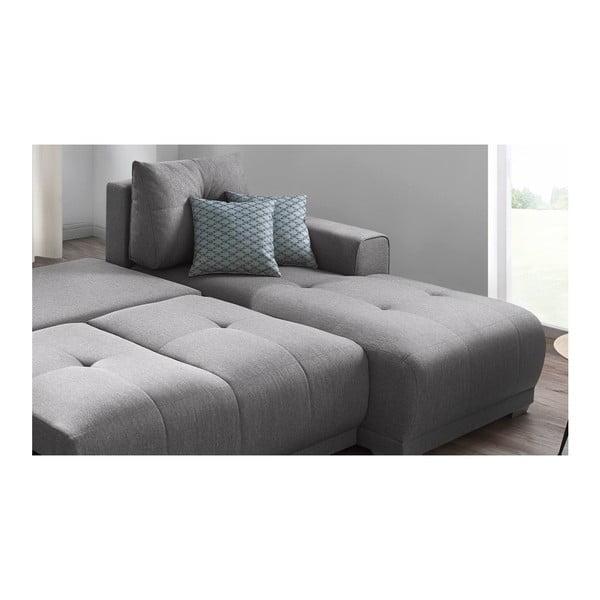 Lisbona szürke kinyitható kanapé tárolóhellyel, jobb oldali - Bobochic Paris