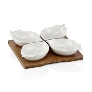 Elegance 4 db-os porcelán tálka szett alátéttel