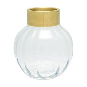 Üveg váza fém szegéllyel, magasság 19 cm - Green Gate