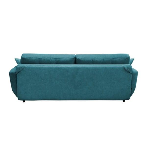 Jasmin türkiz háromszemélyes kinyitható kanapé fekete lábakkal - Mazzini Sofas
