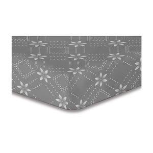Šedé elastické prostěradlo se vzorem DecoKing Hypnosis Snowynight, 120x200cm