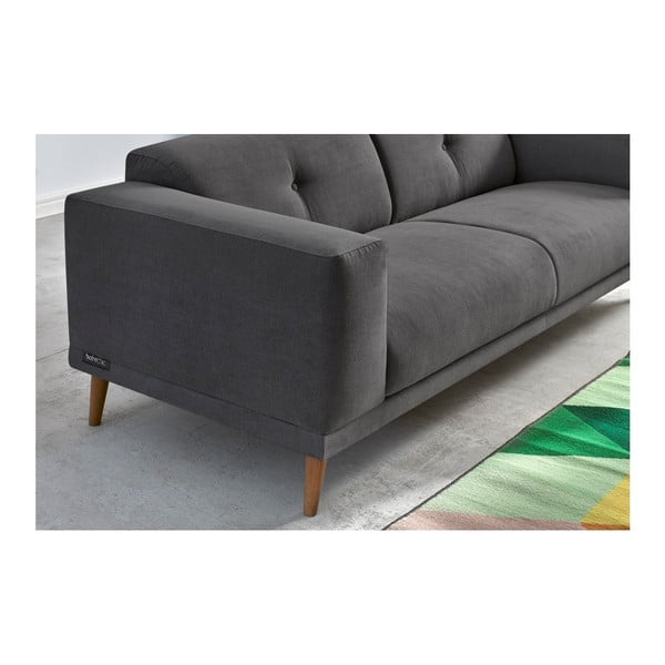 Luna sötétszürke háromszemélyes kanapé lábtartóval - Bobochic Paris