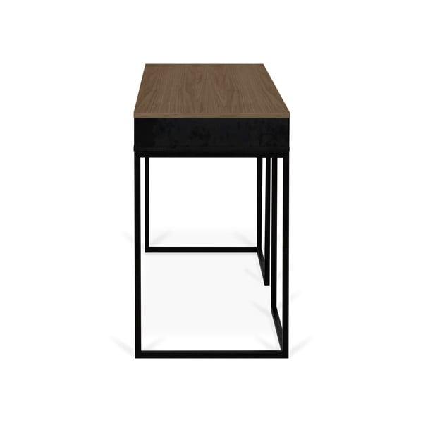 City diófa íróasztal fekete lábakkal - TemaHome