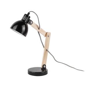 Černá stolní lampa s dřevěnými detaily Leitmotiv Ogle