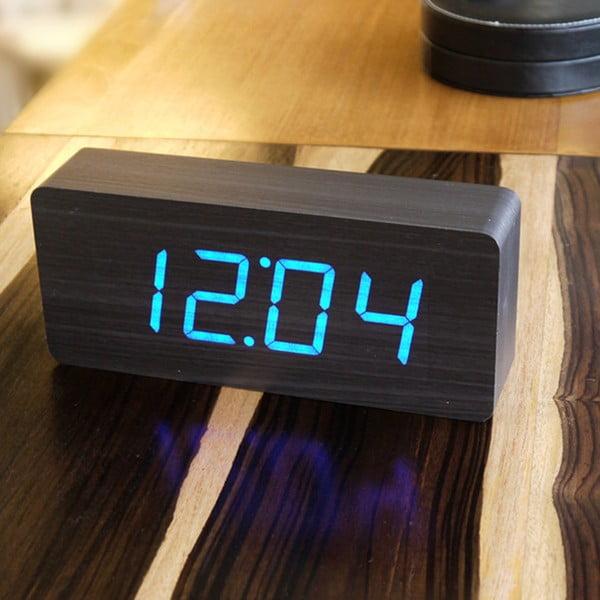 Slab Click Clock fekete ébresztőóra kék LED kijelzővel - Gingko