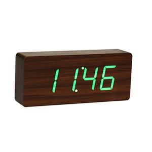 Slab Click Clock sötétbarna ébresztőóra zöld LED kijelzővel - Gingko